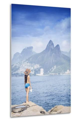 A 20-25 Year Old Young Brazilian Woman Standing on the Arpoador Rocks-Alex Robinson-Metal Print