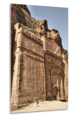 Tourists in Front of Facade, the Street of Facades, Petra, Jordan, Middle East-Richard Maschmeyer-Metal Print