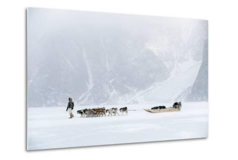 Inuit Hunter Walking His Dog Team on the Sea Ice in a Snow Storm, Greenland, Denmark, Polar Regions-Louise Murray-Metal Print