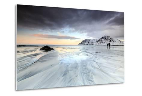 Sunset and Hikers on Skagsanden Beach Surrounded by Snow Covered Mountains-Roberto Moiola-Metal Print