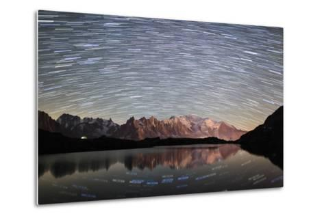 Star Trail over Mont Blanc Range Seen from Lac Des Cheserys-Roberto Moiola-Metal Print