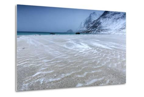 Beach Partially Snowy Surrounded by Mountains-Roberto Moiola-Metal Print