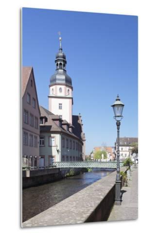 River Alb and Town Hall, Ettlingen, Baden-Wurttemberg, Germany-Markus Lange-Metal Print