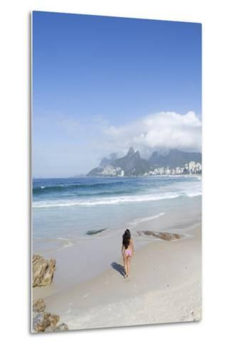 A 20-25 Year Old Young Brazilian Woman on Ipanema Beach with the Morro Dois Irmaos Hills-Alex Robinson-Metal Print