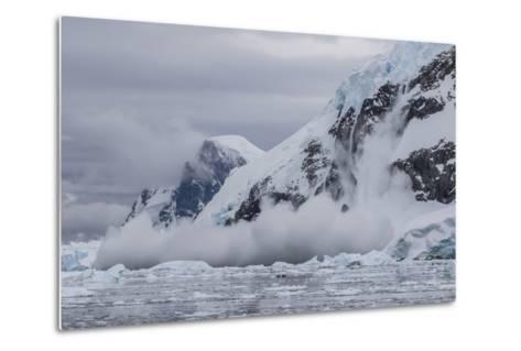 Falling Avalanche of Snow and Ice in Neko Harbor, Antarctica, Polar Regions-Michael Nolan-Metal Print