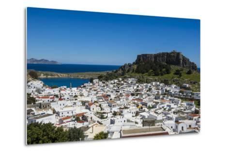 Panoramic View of Beautiful Lindos Village with its Castle (Acropolis)-Michael Runkel-Metal Print