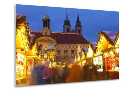 Christmas Market in the Altermarkt with the Baroque Town Hall in the Background-Miles Ertman-Metal Print