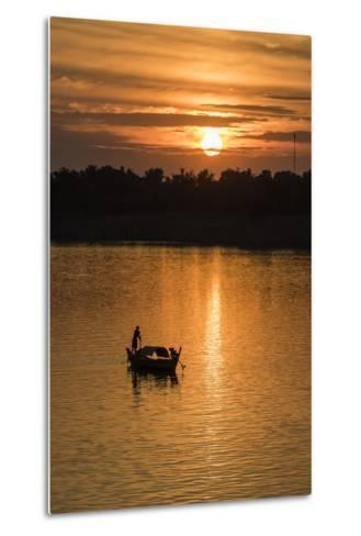 Sunrise on the Tonle Sap River Near the Village of Kampong Tralach, Cambodia, Indochina-Michael Nolan-Metal Print