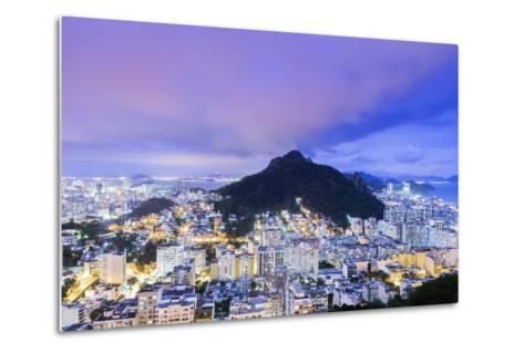 Twilight, Illuminated View of Copacabana, the Morro De Sao Joao-Alex Robinson-Metal Print