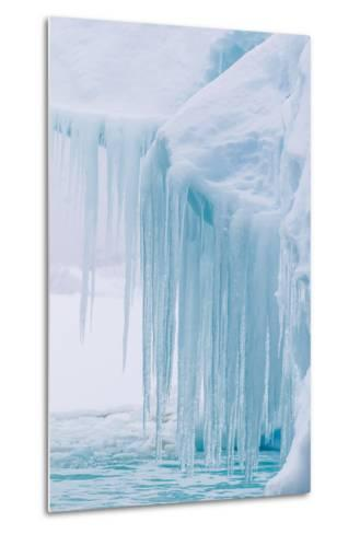 Wind and Water Sculpted Iceberg with Icicles at Booth Island, Antarctica, Polar Regions-Michael Nolan-Metal Print