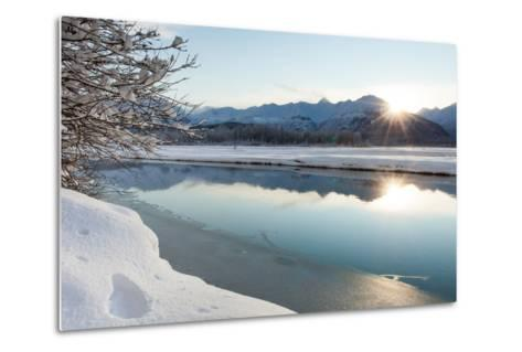 The Chilkat River with Heavy Snow and Mountains in the Background-Jak Wonderly-Metal Print