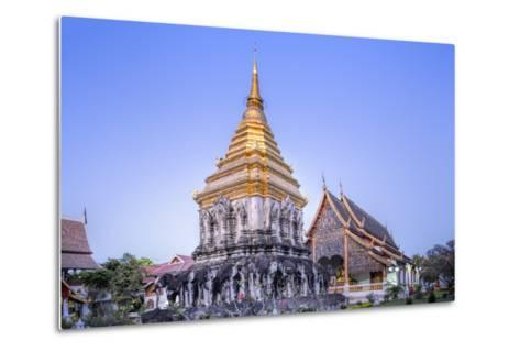 Elephant Sculptures on the Chedi Chang Lom and the Main Bot at the Temple of Wat Chiang Man-Alex Robinson-Metal Print