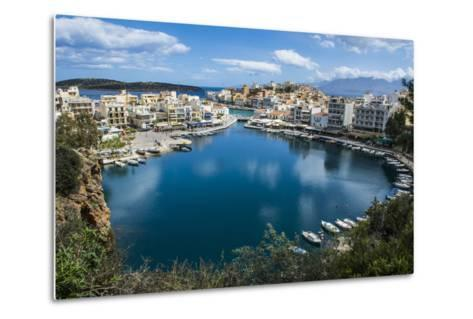 View over Lake Voulismeni, Agios Nikolaos, Crete, Greek Islands, Greece-Michael Runkel-Metal Print