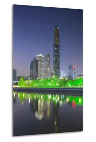 International Finance Centre and Skyscrapers in Zhujiang New Town at Dusk-Ian Trower-Metal Print