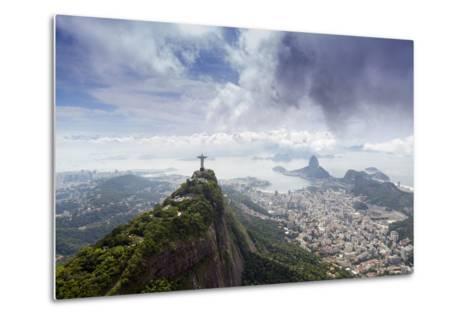 Rio De Janeiro Landscape Showing Corcovado, the Christ and the Sugar Loaf, Rio De Janeiro, Brazil-Alex Robinson-Metal Print