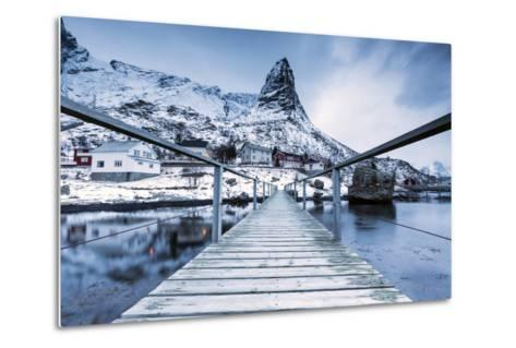 A Bridge over the Cold Sea Connects a Typical Fishing Village. Reine-Roberto Moiola-Metal Print