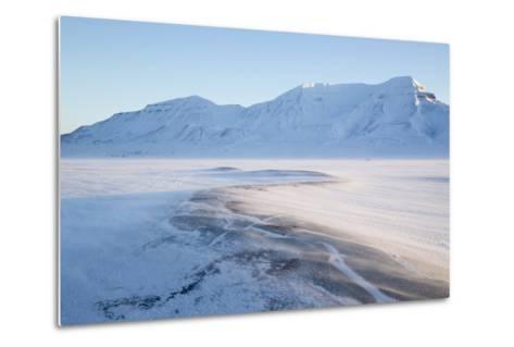 Sunrise, Hiorthfjellet Mountain and Adventtoppen Mountain across Adventdalen, Spitsbergen-Stephen Studd-Metal Print
