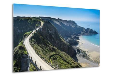 Road Connecting the Narrow Isthmus of Greater and Little Sark, Channel Islands, United Kingdom-Michael Runkel-Metal Print