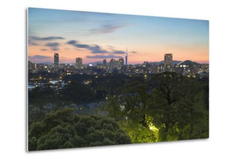 Coastal Area Skyline at Sunset, Fukuoka, Kyushu, Japan-Ian Trower-Metal Print