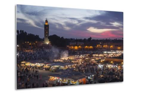 Djemaa El Fna Square and Koutoubia Mosque at Sunset-Stephen Studd-Metal Print