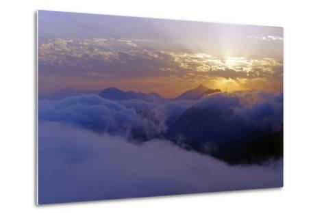 Above the Clouds at 3300 Meters on Mount Damavand, Looking at Sunset over the Alborz Mountains-Babak Tafreshi-Metal Print