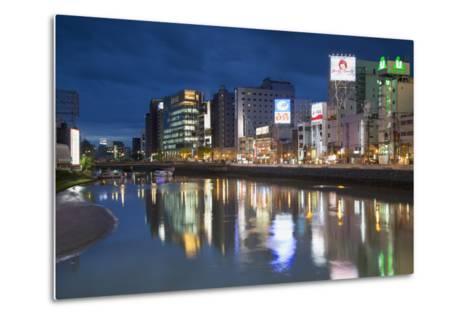 Buildings Along Hakata River at Dusk, Fukuoka, Kyushu, Japan-Ian Trower-Metal Print