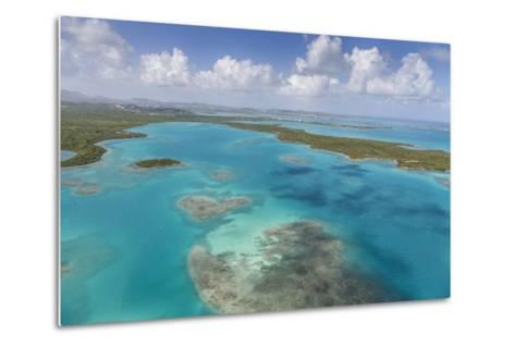Aerial View of Sections of Reef Scattered Along the Rugged Coastline of Antigua-Roberto Moiola-Metal Print