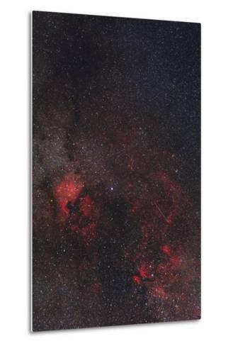 A Meteor Streaks the Sky Against the Milky Way and the Rich Nebula Field in Cygnus-Babak Tafreshi-Metal Print