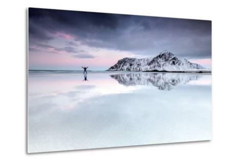 Sunset and Hiker on Skagsanden Beach Surrounded by Snow Covered Mountains-Roberto Moiola-Metal Print