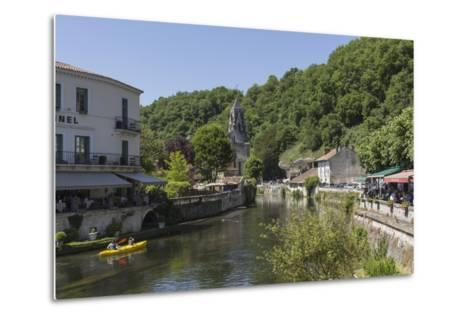 Canoe on River Dronne, Brantome, Dordogne, Aquitaine, France, Europe-Jean Brooks-Metal Print