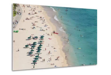 Waikiki Beach, Waikiki, Honolulu, Oahu, Hawaii, United States of America, Pacific-Michael DeFreitas-Metal Print