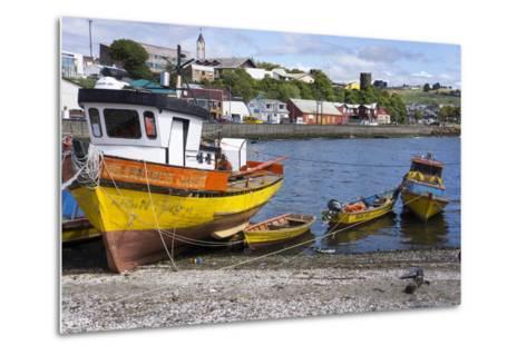 Tthe Fishing Harbour of Ancud, Island of Chiloe, Chile, South America-Peter Groenendijk-Metal Print