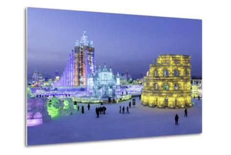Illuminated Ice Sculpture at the Harbin Ice and Snow Festival in Harbin, Heilongjiang Province, Chi-Gavin Hellier-Metal Print