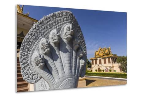 Hor Samran Phirun, Royal Palace, in the Capital City of Phnom Penh, on the Mekong River, Cambodia-Michael Nolan-Metal Print