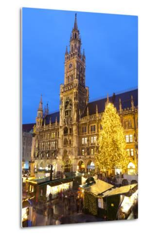 Overview of the Marienplatz Christmas Market and the New Town Hall, Munich, Bavaria, Germany-Miles Ertman-Metal Print