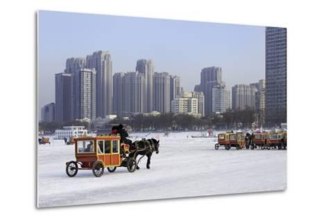 A Carriage on the Icebound Songhua River in Harbin, Heilongjiang, China, Asia-Gavin Hellier-Metal Print