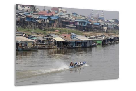 View of Life Along the Tonle Sap River Headed Towards Phnom Penh, Cambodia, Indochina-Michael Nolan-Metal Print