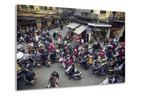 Busy Traffic in the Old Quarter, Hanoi, Vietnam, Indochina, Southeast Asia, Asia-Yadid Levy-Metal Print