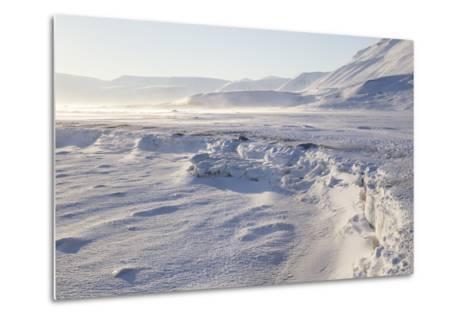Adventdalen Valley, Frozen Sea Ice of Adventfjorden (Advent Bay), Svalbard-Stephen Studd-Metal Print
