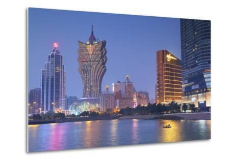 Grand Lisboa and Wynn Hotel and Casino at Dusk, Macau, China, Asia-Ian Trower-Metal Print