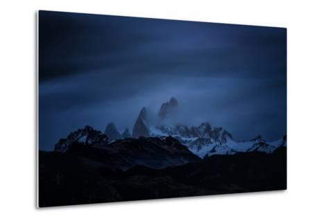Snow-Blanketed Andes Mountains at Night with Flowing Clouds--Metal Print