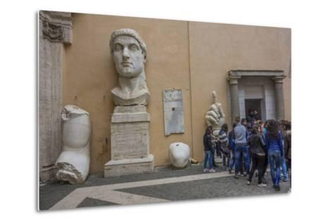 Tourists Line Up at the Entrance of the Capitoline Museum Next to a Bust of Constantine-Will Van Overbeek-Metal Print