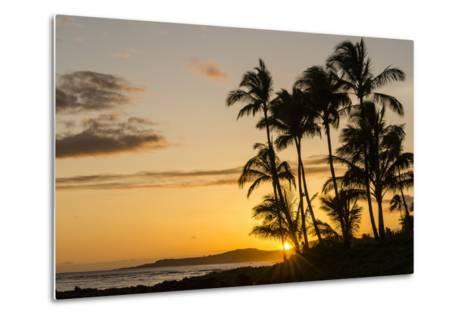 Sunset at Poipu Beach, Kauai, Hawaii, United States of America, Pacific-Michael DeFreitas-Metal Print