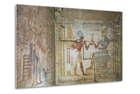 Bas Relief of Pharaoh Seti I Making an Offering to the Seated God Horus on Right-Richard Maschmeyer-Metal Print