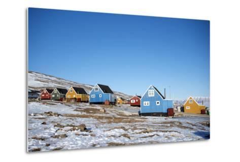 Colourful Wooden Houses in the Village of Qaanaaq-Louise Murray-Metal Print
