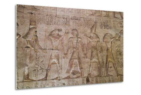 Bas-Relief of Pharaoh Seti I in Center with Egyptian Gods-Richard Maschmeyer-Metal Print