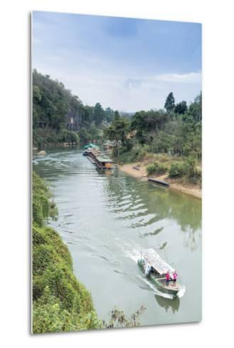 A Boat on the River Kwai with the Pow-Built Wampoo Viaduct Behind-Alex Robinson-Metal Print