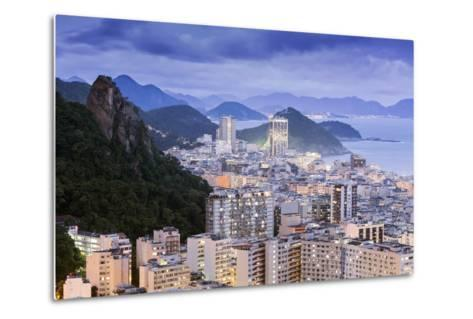 Twilight, Illuminated View of Copacabana, the Morro De Sao Joao and the Atlantic Coast of Rio-Alex Robinson-Metal Print
