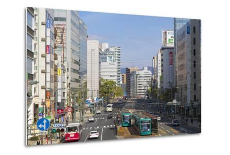 Trams and Traffic, Hiroshima, Hiroshima Prefecture, Japan-Ian Trower-Metal Print