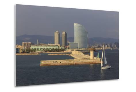 Yacht Sails Past La Barceloneta and the Waterfront-Eleanor Scriven-Metal Print